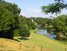 A view of Painshill, photographed by Sarah Jackson in 2006, with the lake on the right, and the Turkish Tent in the distance.